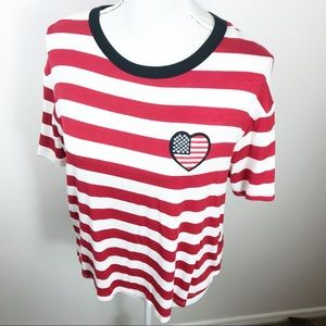 NWOT Sweet Claire Striped Rayon Flag T-Shirt ML